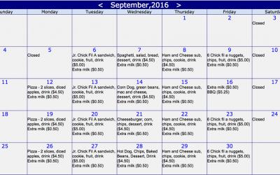 Online lunch ordering for September